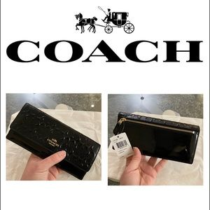 Coach Black Patent Leather Wallet